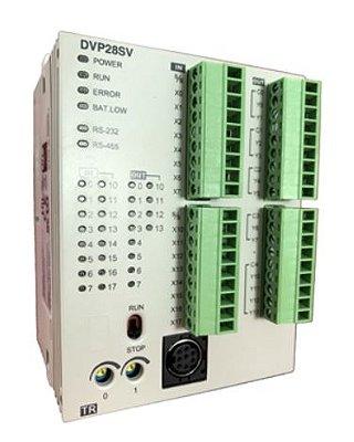 CLP Modelo SV2 com 16 Entradas e 12 Saídas Digitais a Transistor NPN e Alimentação 24Vdc DELTA DVP28SV11T2