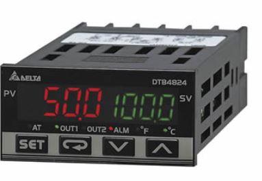 Controlador de temperatura DTB tipo avançado com Largura 48mm e Altura 24mm com saída 1 de pulos de tensão, 14Vdc com saída 2 a Relé, 250Vac, 5A DELTA DTB4824VR