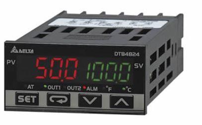 Controlador de temperatura DTB tipo avançado com Largura 48mm e Altura 24mm com saída 1 de pulos de tensão, 14Vdc com saída 2 de pulos de tensão, 14Vdc DELTA DTB4824VV
