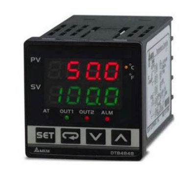 Controlador de temperatura DTB tipo avançado com Largura 48mm e Altura 48mm com saída 1 de corrente DC, 4 - 20mA com saída 2 a Relé, 250Vac, 5A DELTA DTB4848CR