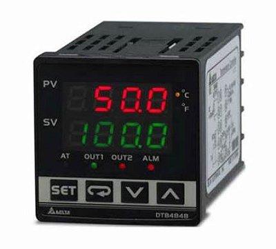 Controlador de temperatura DTB tipo avançado com Largura 48mm e Altura 48mm com saída 1 de corrente DC, 4 - 20mA com saída 2 de pulos de tensão, 14Vdc DELTA DTB4848CV