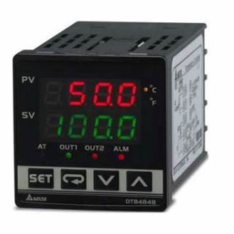 Controlador de temperatura DTB tipo avançado com Largura 48mm e Altura 48mm com saída 1 de pulos de tensão, 14Vdc com saída 2 a Relé, 250Vac, 5A DELTA DTB4848VR