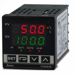 Controlador de temperatura DTB tipo avançado com Largura 48mm e Altura 48mm com saída 1 de pulos de tensão, 14Vdc com saída 2 de pulos de tensão, 14Vdc DELTA DTB4848VV