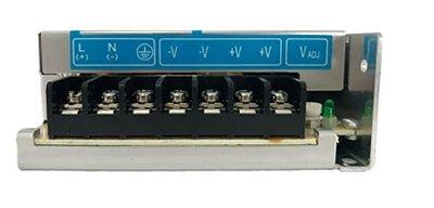 Fonte de alimentação com tensão de entrada 85~264Vac monofásica ou 120~375Vdc e tensão de saída 24Vdc - potência de saída 150W (6,25A) montado em caixa de Alumínio DELTA PMC-24V150W1AA
