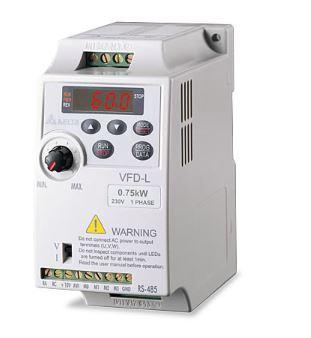Inversor de Frequência 0,25CV (0,2KW) - Modelo L - 220 Volts - Monofásico - Standard com Filtro EMI incorporado - Sem transistor de frenagem incorporado - utilizado para variação de velocidade de motores elétricos. DELTA VFD002L21B