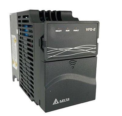 Inversor de Frequência 0,5CV (0,4KW) - Modelo E - 220 Volts - Monofásico - Driver Padrão - Sem transistor de frenagem incorporado - utilizado para variação de velocidade de motores elétricos. DELTA VFD004E21A
