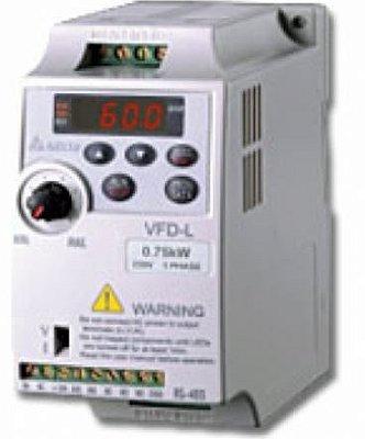 Inversor de Frequência 0,5CV (0,4KW) - Modelo L - 220 Volts - Monofásico - Standard - Sem transistor de frenagem - utilizado para variação de velocidade de motores elétricos. DELTA VFD004L21A