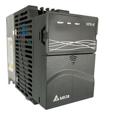 Inversor de Frequência 1CV (0,75KW) - Modelo E - 220 Volts - Monofásico - Driver Padrão - Sem transistor de frenagem incorporado - utilizado para variação de velocidade de motores elétricos. DELTA VFD007E21A