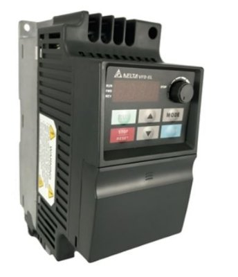 Inversor de Frequência 1CV (0,75KW) - Modelo EL - 220 Volts - Monofásico - Standard - utilizado para variação de velocidade de motores elétricos. DELTA VFD007EL21A