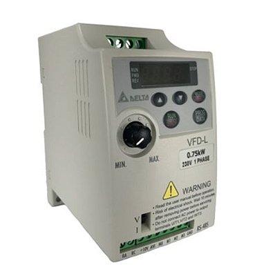 Inversor de Frequência 1CV (0,75KW) - Modelo L - 220 Volts - Monofásico - Standard - Sem transistor de frenagem - utilizado para variação de velocidade de motores elétricos. DELTA VFD007L21A