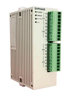 Módulo de expansão para CLP Modulo SV (alta velocidade) com 4 Entradas de tensão analógica (±10V, ±5V) ou corrente (±20mA, 0~20mA, 4~20mA)  DELTA DVP04AD-SL