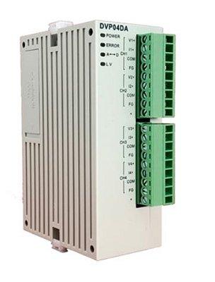 Módulo de expansão para CLP Modulo SV (alta velocidade) com 4 Saídas analógica (-10V~+10V) ou corrente (0~20mA, 4~20mA) DELTA DVP04DA-SL