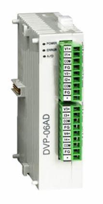 Módulo de extensão analógica (AI/AO) para CLP Modelo SS, AS, SX, SC ou SV com 6 Entradas de tensão analógica (±10V, ±5V) ou corrente (±20mA, 0~20mA, 4~20mA)  - Alimentação 24Vcc DELTA DVP06AD-S