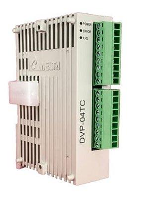 Módulo de extensão analógico (AI / AO) para CLP Modelo SS, AS, SX, SC ou SV com 4 Entradas de termopar tipos (J, K, R, S, T, E e N) -80mV~+80mV - Alimentação 24Vcc DELTA DVP04TC-S