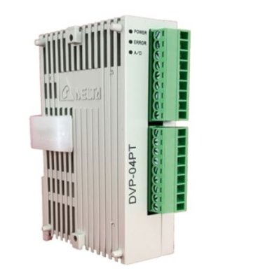 Módulo de extensão analógico (AI/AO) para CLP Modelo SS, AS, SX, SC ou SV com 4 Entradas de resistencia de RTD de platina (Pt100, Pt1000, Ni100 e Ni1000) 0~300Ω - Alimentação 24Vcc DELTA DVP04PT-S