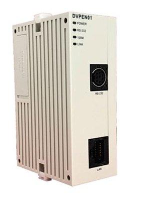 Módulo de extensão de rede para CLP Modulo SV (alta velocidade) com comunicação Modbus TCP. Alimentação interna 24Vcc DELTA DVPEN01-SL