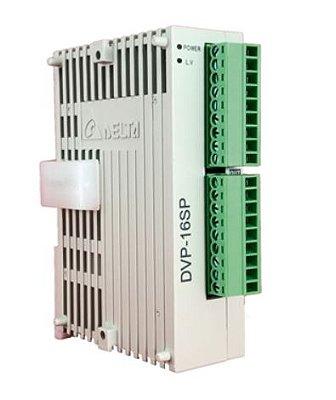 Módulo de extensão digital  (DI/DO) para CLP Modelo SS, AS, SX, SC ou SV com 8 Entradas e 8 Saídas Digitais a Relé e Alimentação 24Vdc DELTA DVP16SP11R