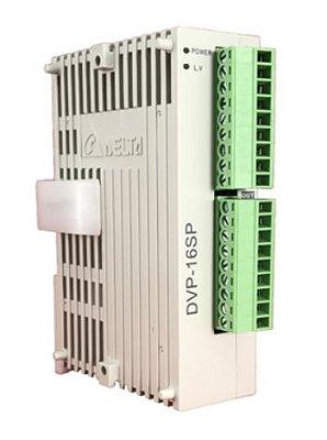 Módulo de extensão digital (DI/DO) para CLP Modelo SS, AS, SX, SC ou SV com 8 Entradas e 8 Saídas Digitais a TransistorNPNe Alimentação 24Vdc DELTA DVP16SP11T