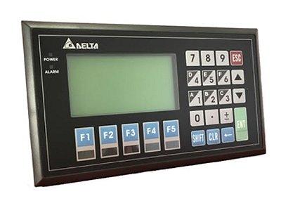 Painel de texto 8 linhas - Modelo 08 (8 linhas) - Modo Gráfico com porta COM1 sendo RS-232 - RS-422. Com teclado Alfanumérico e vídeo monocromático. DELTA TP08G-BT2