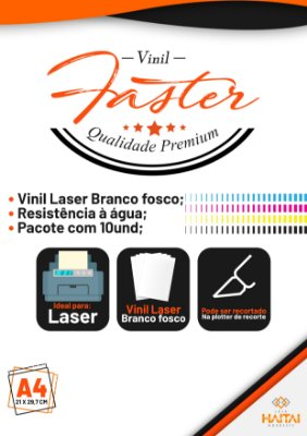 Papel Vinil Adesivo Laser Branco Brilhoso - Pacote com 10 unid.