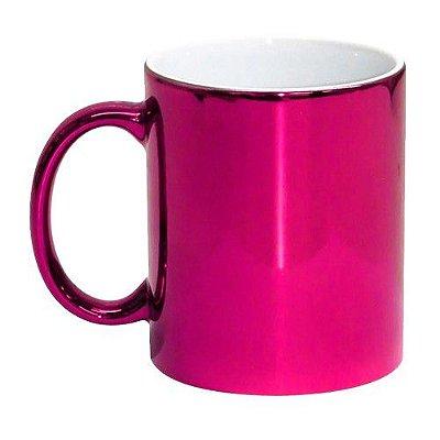 Caneca de Porcelana Cromada p/ Sublimação - Rosa Pink
