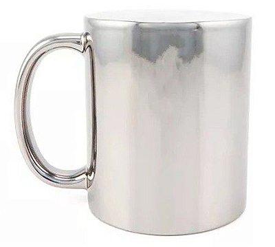 Caneca de Porcelana Cromada p/ Sublimação - Prata