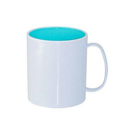 Caneca para Sublimação de Polímero Branco com Interior Azul Tifany