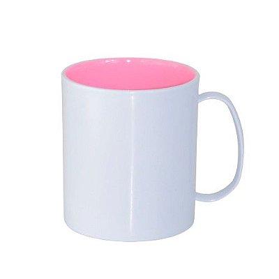 Caneca para Sublimação de Polímero Branco com Interior Rosa Bebê