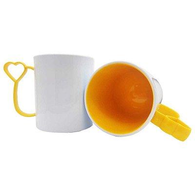 Caneca de Polímero para Sublimação Alça Coraçãozinho Amarela