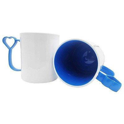 Caneca de Polímero para Sublimação Alça coraçãozinho Azul Royal