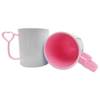 Caneca de Polímero para Sublimação Alça Coraçãozinho Rosa Bebê