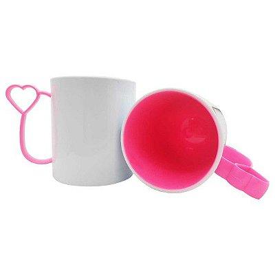 Caneca de Polímero para Sublimação Alça Coraçãozinho Rosa Pink