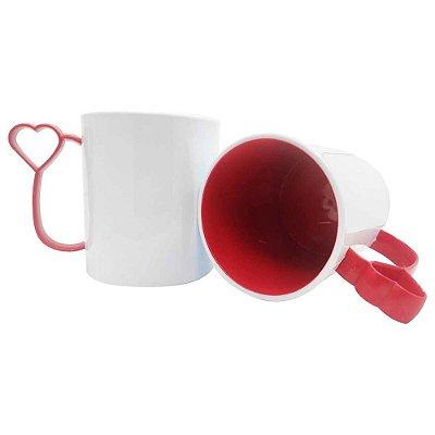 Caneca de Polímero para Sublimação Alça Coraçãozinho Vermelha
