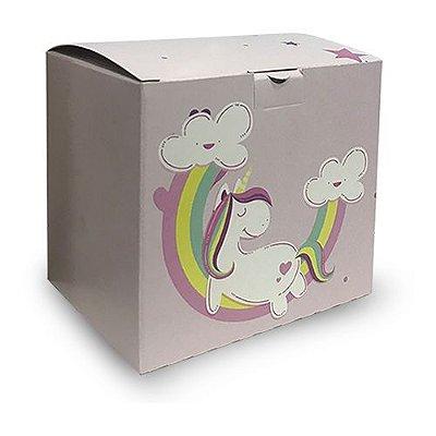 08 - Caixa p/ Caneca - Tema: Unicórnio Rosa Bebê - 1 unidade