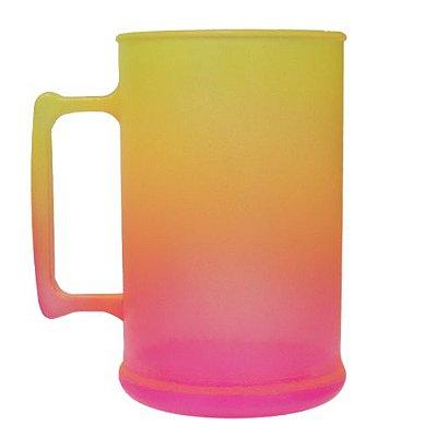 Caneca para Chopp Jateada 450ml - Amarelo/Laranja/Rosa