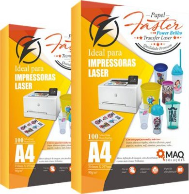 Papel Faster Power Brilho A4 - TRANSFER LASER
