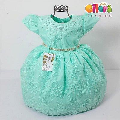 Vestido Infantil Festa Renda Verde Tiffany Turquesa