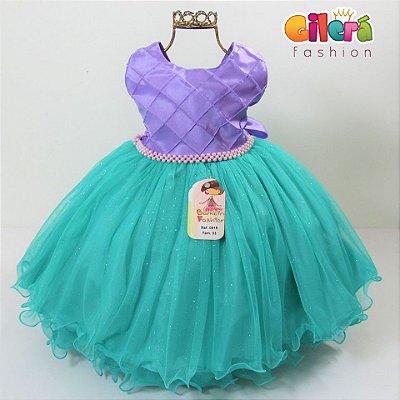 Vestido Infantil Fantasia Pequena Sereia Ariel Lilás Verde