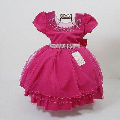 Vestido Infantil Festa Princesa Rosa Pink