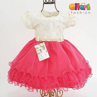 Vestido Infantil Bebê Festa Luxo Off White Rosa