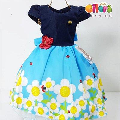 Vestido Infantil Festa Flores Joaninha com Jeans
