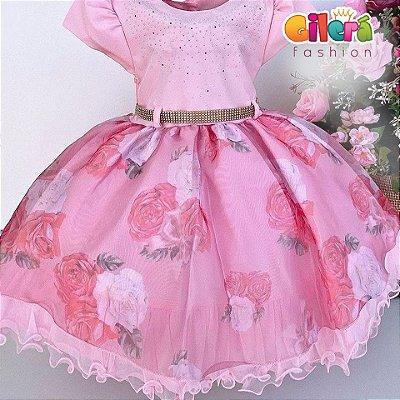 Vestido Infantil Festa Cor de Rosa