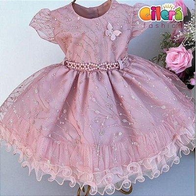 Vestido Infantil Bebê Festa Casamento Rosê