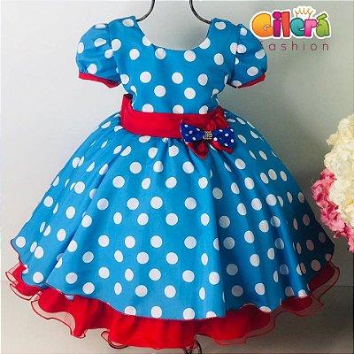 Vestido Infantil de Festa Galinha Pintadinha Azul