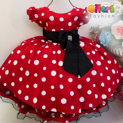 Vestido Infantil Fantasia Luxo Minnie Vermelho