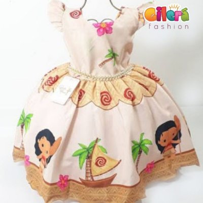 Vestido Infantil de Festa Aniversário Fantasia Moana Baby Cor Nude Vestido para Crianças Meninas