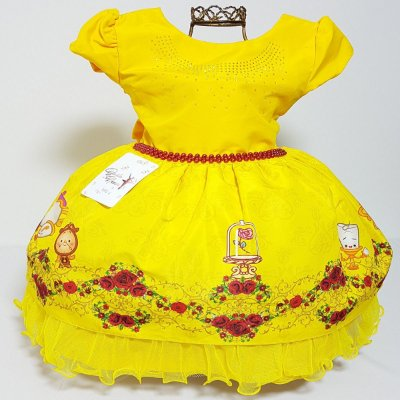 Vestido Infantil Fantasia de Festa Aniversário Princesa Bela