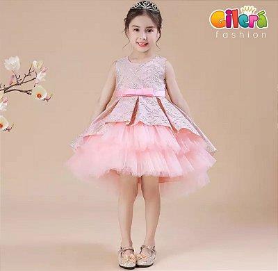 Vestido Infantil Importado de Luxo para Festa Bordado Rose