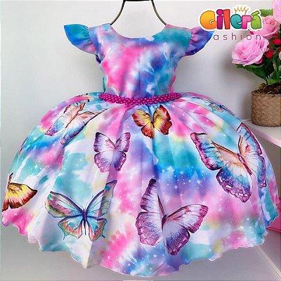 Vestido Infantil de Festa Passeios Aniversários Borboleta Tye Die