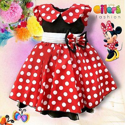 Vestido Infantil de Festa Luxo Tema Minnie